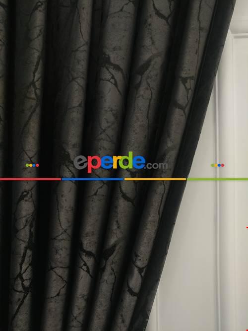 Desenli Dökümlü Fon Perde (150)- Siyah