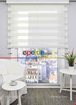 Salon Zebra Perde - Ekru Mikro Pilise Zebra Perde- Beyaz