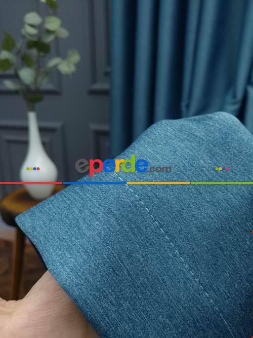 Modern Keten Görünümlü Işık Geçirmez Karatma Fon Perde 2021 Ikon- Mavi Koyu-turkuaz