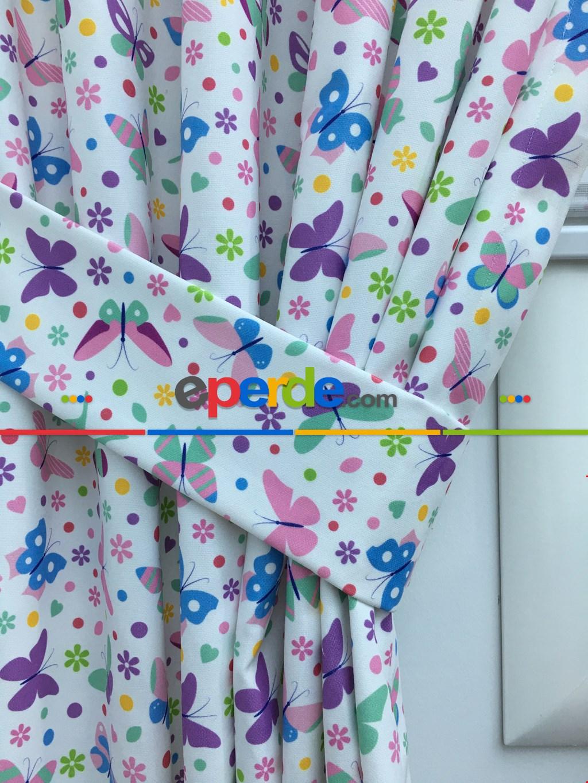 Çocuk Odası Fon Perde - Kelebek Desenli Fon Perde (kalın Pamuklu Kumaş)- Mavi