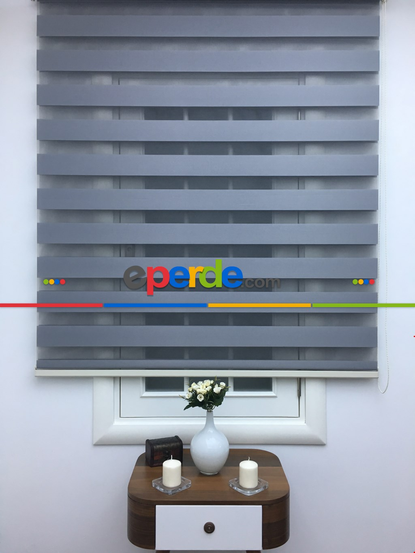 Zebra Perde-tual Gri Renk Düz Zebra Perde