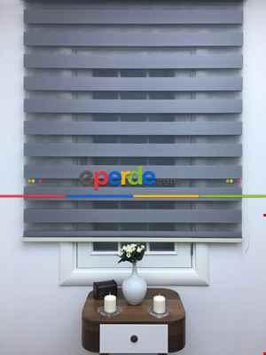Salon Zebra Perde - Zebra Perde-tual Gri Renk Düz Zebra Perde- Füme