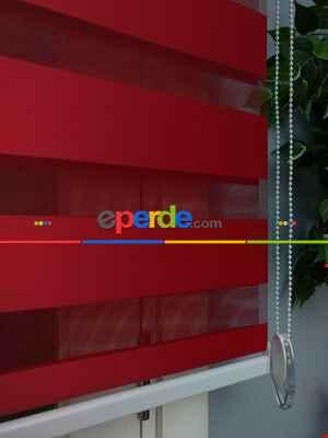 Salon - Perle Home Düz Zebra Perde Kırmızı
