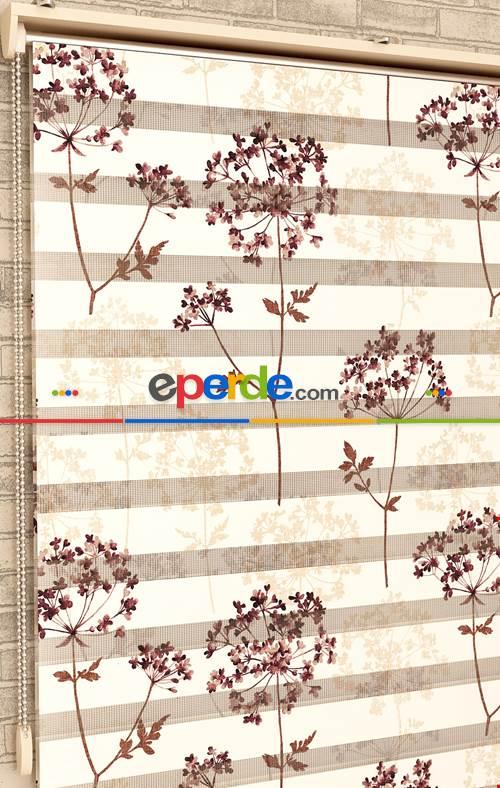 Çiçek Desen - Baskılı Zebra Perde