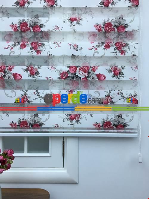 Mutfak - Zebra Perde Gül Desen- Kırmızı- Çok Renkli 2-gül Pembe