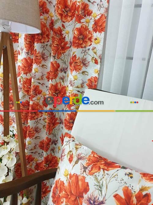 Turuncu Çiçek Desenli Fon Perde Evm645 Kumaşı Kalındır Duck Bezi Değildir- Sarı-beyaz-turuncu