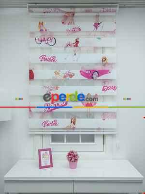 Barbie Kız Çocuk Odası Zebra Perde- Pembe