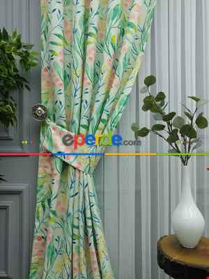 Çiçek Desenli Fon Perde Evm374 - Kumaşı Kalındır Duck Bezi Değildir.- Yeşil-Beyaz-Pembe-Çok Renkli