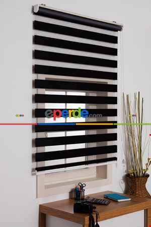 Salon Zebra Perde -İndirimli!!! Kalın Bambu Lüx Siyah Zebra Perde Ozel Fiyat- Siyah
