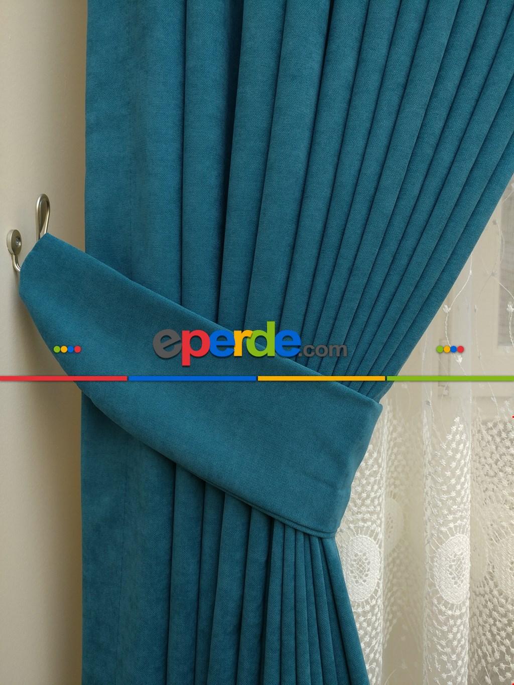 Salon Petrol Rengi - Düz Fon Perde ( En 150cm Dökümlü Fon Perde)- Petrol Mavisi