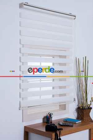 Salon Zebra Perde -Indirimli !!! Zebra Perde Beyaz Bambu Ozel Fiyat- Beyaz