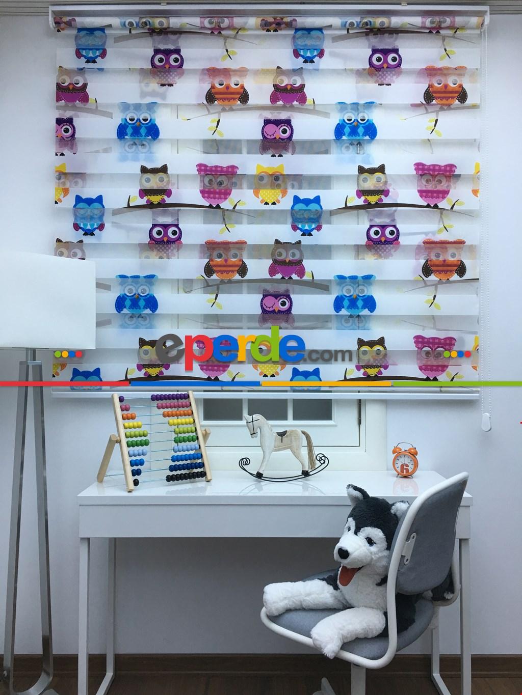 Baykuş Desenli Çocuk Odası Zebra Perde