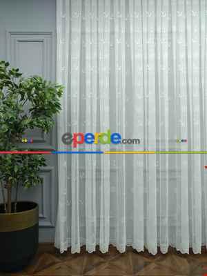 Çocuk Odası Tül Perde - Çapa Desenli Tül Perde - Kampanyalı Örme Tüller Stoklar İle Sınırlı- Ekru