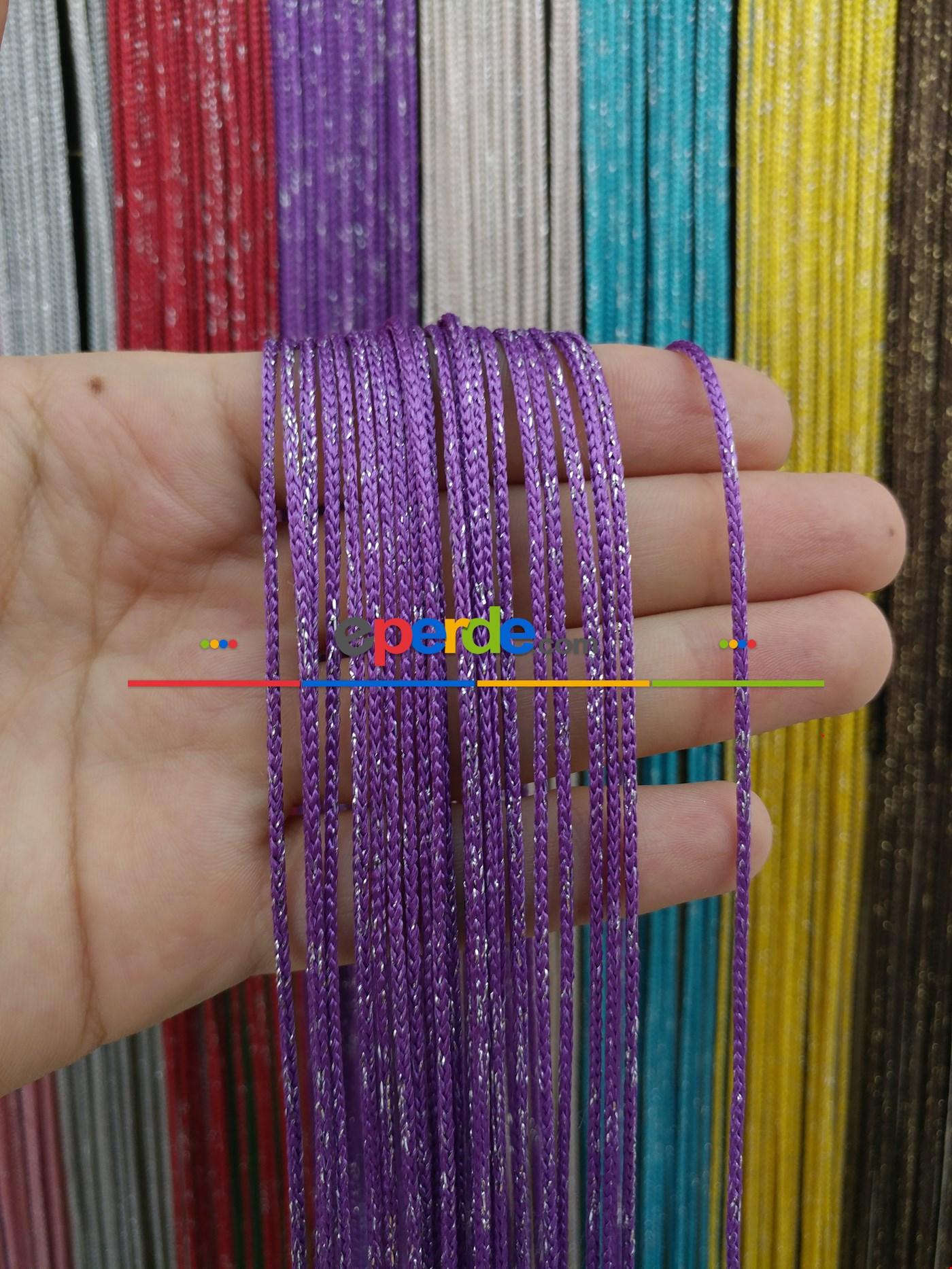 Bej Rengi İp Perde Kalın Zincir Simli Serisi Gümüş - Eflatun