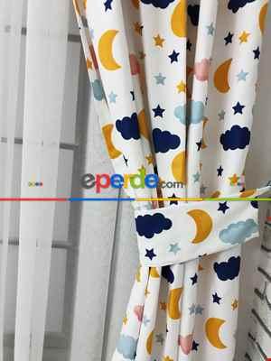 Aydede Bulut Desenli Fon Perde Evm8345 Kumaşı Kalındır Duck Bezi Değildir- Lacivert-beyaz-pembe