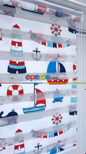 Denizci-çapa Desenli Zebra Perde- Lacivert-Mavi-Kırmızı
