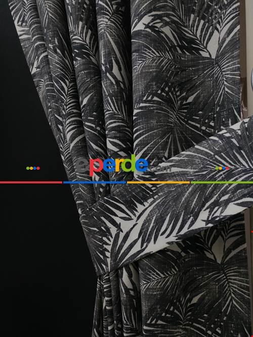 Tropikal Yaprak Desenli Fon Perde(leke Tutmaz)- Siyah-Beyaz