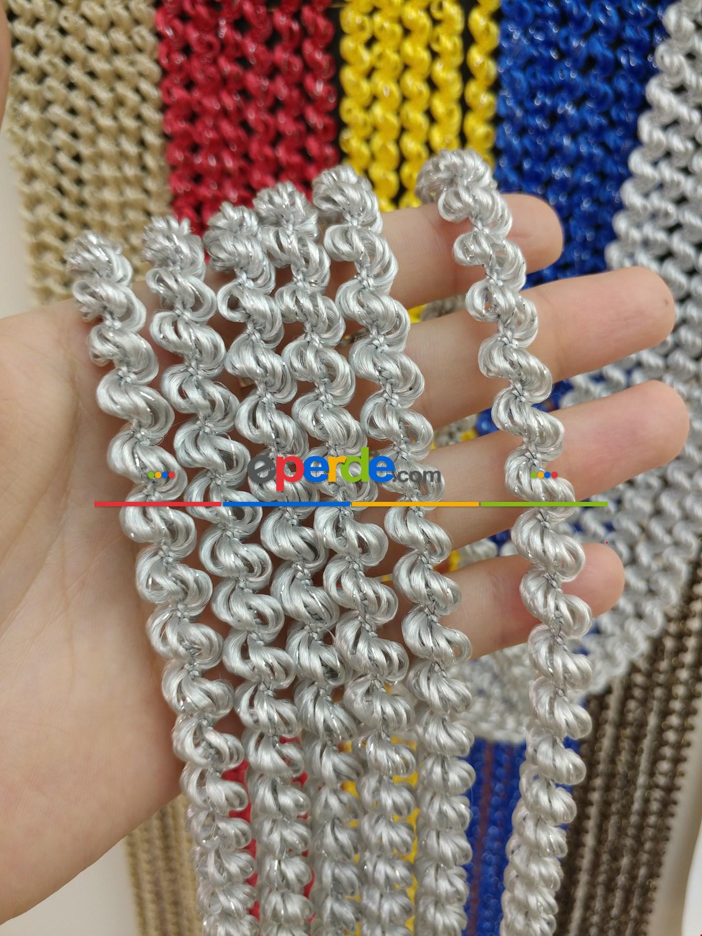 Açık Bej Rengi İp Perde Duble Bukle Serisi Gri - Gümüş