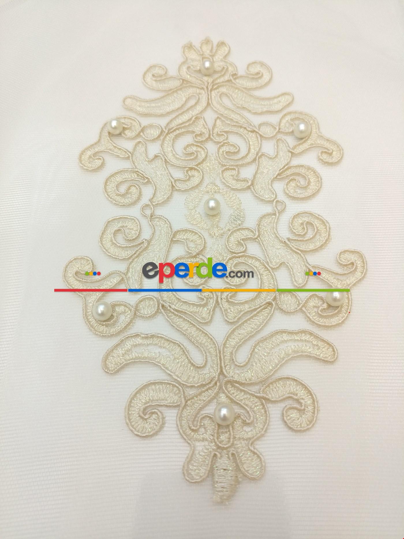İncili Damask Desen Nakış İşlemeli Salon - Perdesi - Koyu Krem İşlemeli