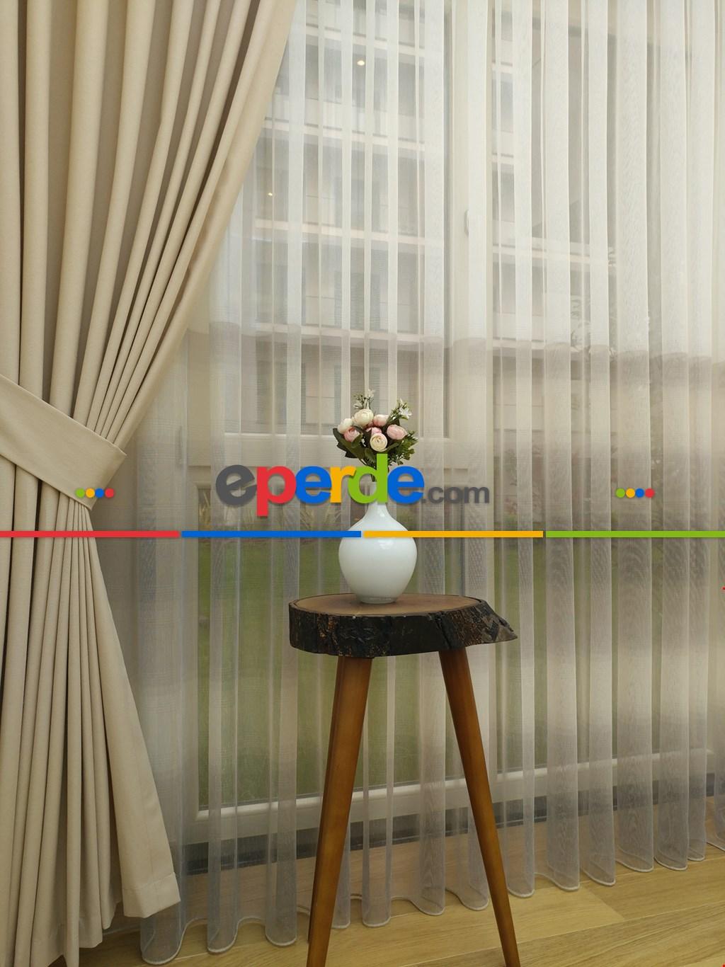 1.kalite Degrade Renk Geçişli Şantuk Keten Tül Perde Salon Perdesi 2021- Kahve Açık-gri Açık