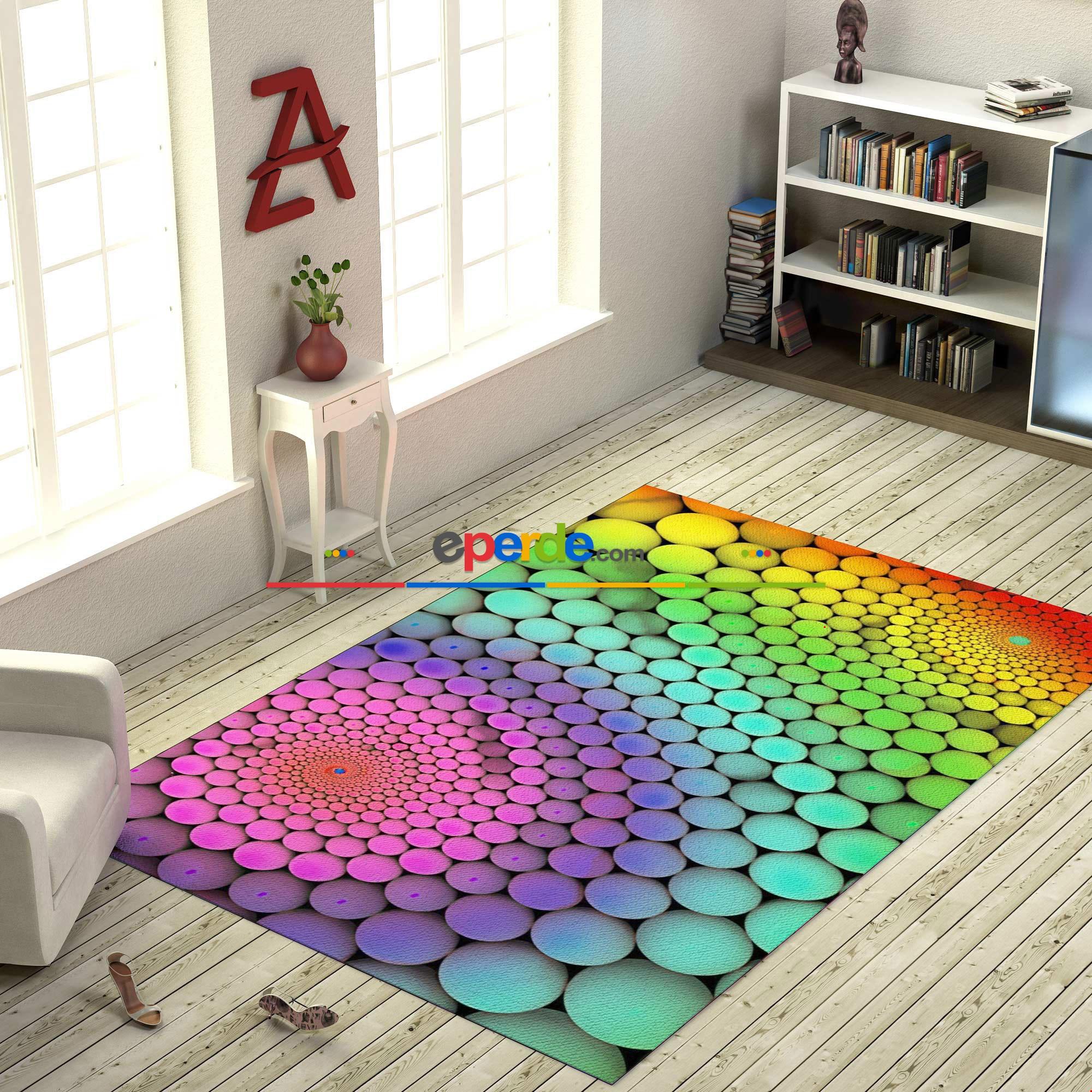 Renkli Toplar 3d Baskılı Halı