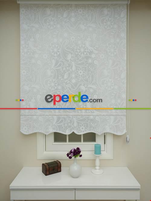 Taş Perde Beyaz Desenli Stor Perde Orjinal Ürün Garantisi- Beyaz
