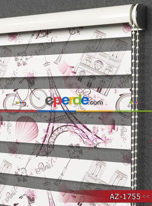 Kız Çocuk Perde - Paris Eyfel Kulesi Desen Baskılı Zebra Perde