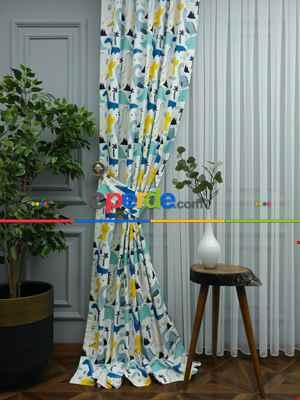 Dinazor Desenli Fon Perde Evm499 Kumaşı Kalındır Duck Bezi Değildir- Siyah-Sarı- Çok Renkli 3