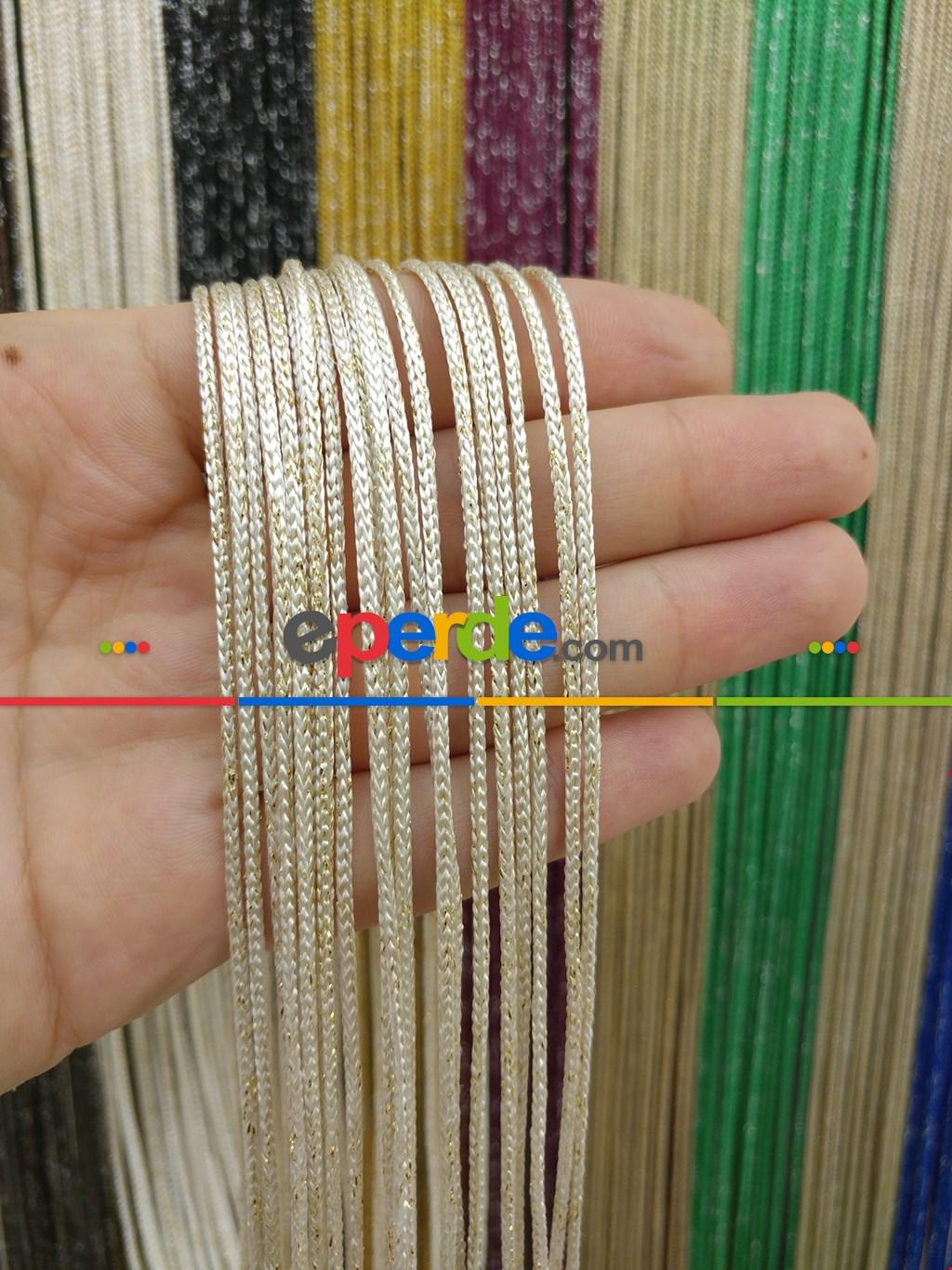 Beyaz Altın Rengi İp Perde Kalın Zincir Simli Serisi- Beyaz-altın