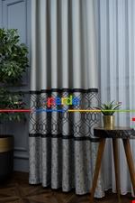 Modern Pano Fon Perde Bantlı Çift Renk - 503- Siyah-Gri-Füme-Antrasit-Bej-Füme Siyah - Gri Füme Antrasit - Krem
