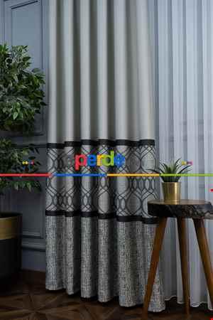 Modern Pano Fon Perde Bantlı Çift Renk - 503- Siyah-Gri-Füme-Antrasit-Bej-Füme