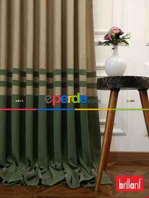 Brillant Süet Pano Fon Perde 180cm Yeni Sezon- Yeşil-bej