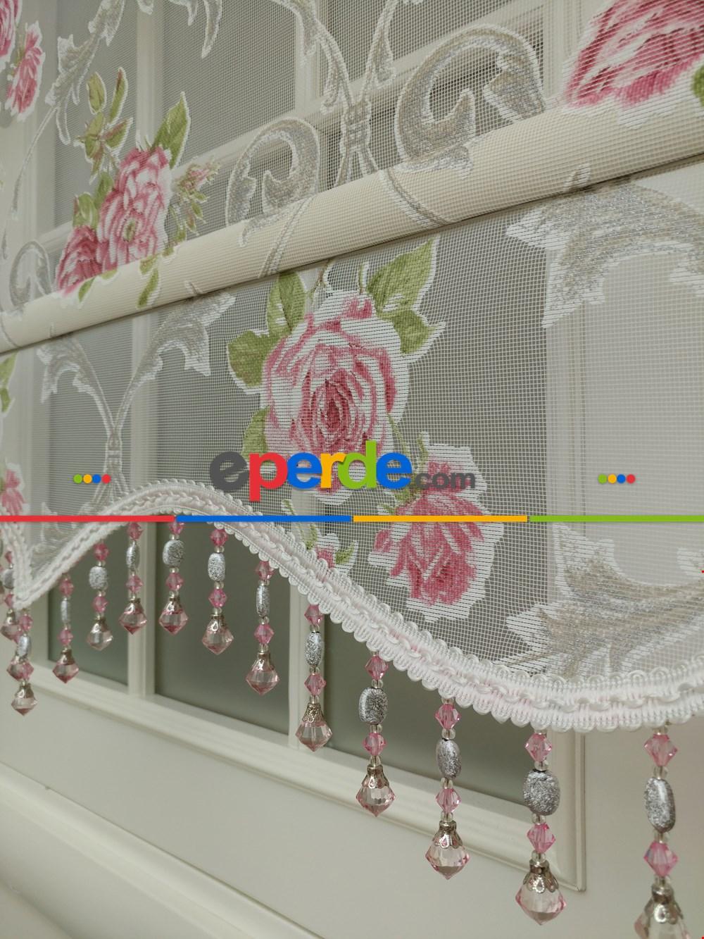 Çiçek Desenli Çiftli Sistem Tül Stor Perde