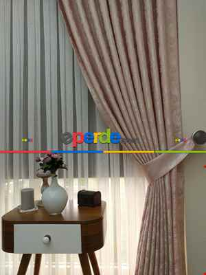 Salon Pudra Renk Jakar Desenli Fon Perde- Pudra