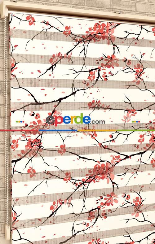 Siyah Dallar Kırmızı Çiçekler - Baskılı Zebra Perde
