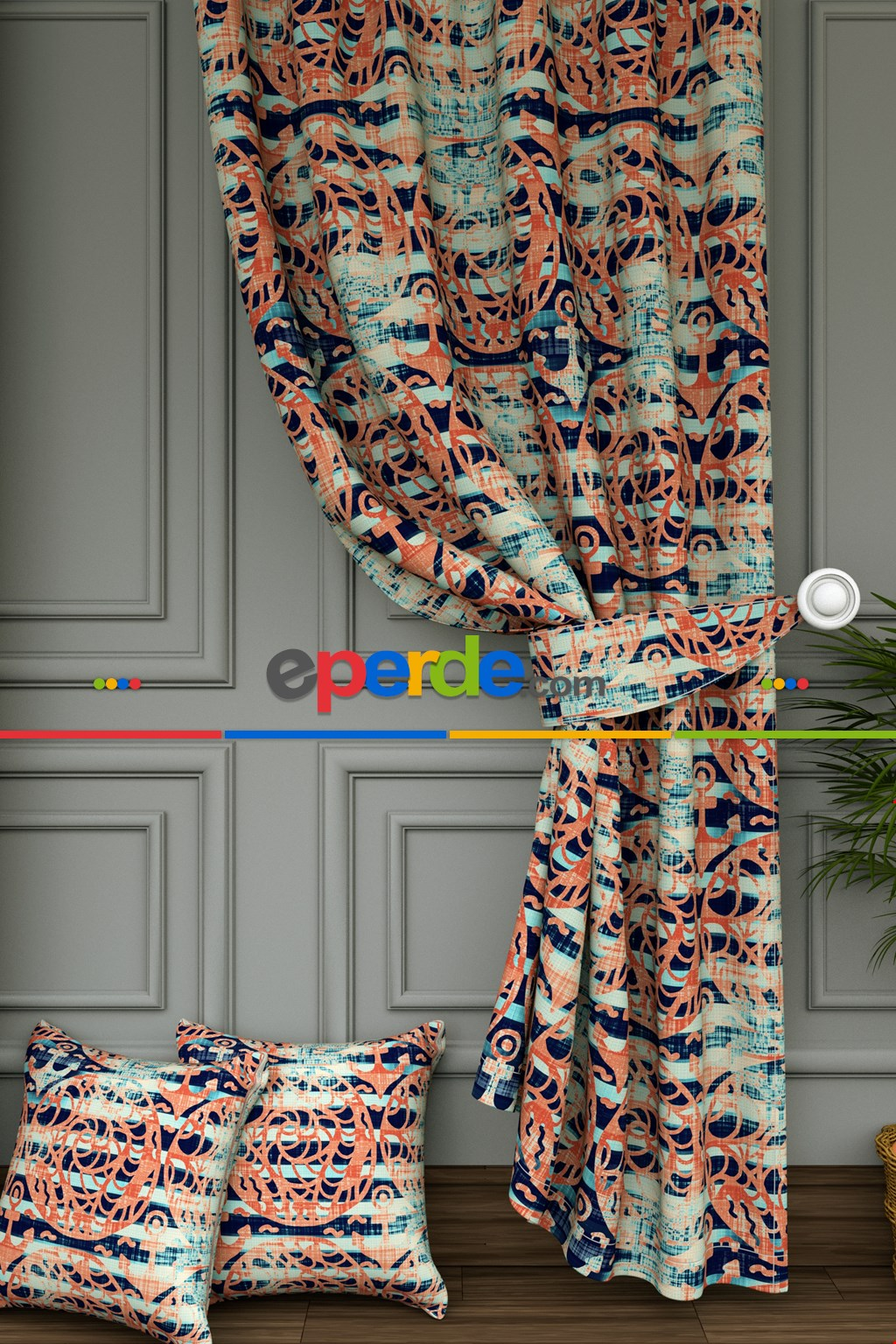 Renkli Çapa Baskılı Fon Perde- Lacivert-Çok Renkli