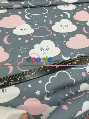 Bulut Desenli Fon Perde Evm683-4 Kumaşı Kalındır Duck Bezi Değildir- Beyaz-Gri Açık