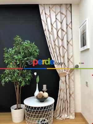 Salon Perdesi - Ekru Sütlü Kahve Desenli Jakar Fon Perde (geniş En:280 Kumaş)- Ekru