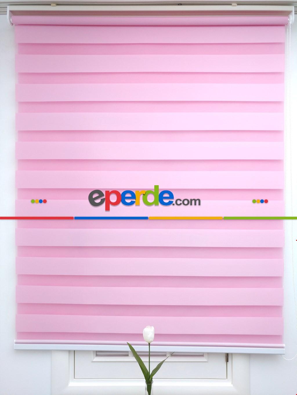 Zebra Perde-tual Pembe Renk Düz Zebra Perde