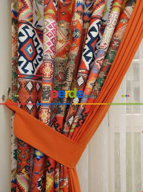 Kilim Desenli Patchwork Fon Perde Kombinli - 2- Çok Renkli 3