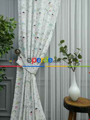 Çoçuk Odası Desenli Fon Perde Evm563 Kumaşı Kalındır Duck Bezi Değildir- Siyah-Beyaz-Krem-Mavi Açık