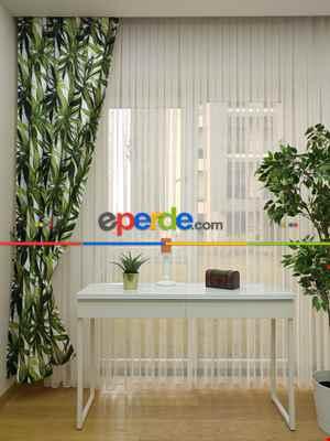 Tropikal Yapraklı Dekoratif Fon Perde Kumaşı- Kumaşı Kalındır- Yeşil-Beyaz