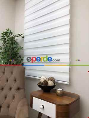 Salon Zebra Perde - Yüksek Kalite Düz Zebra Perde - Beyaz Renk- Beyaz