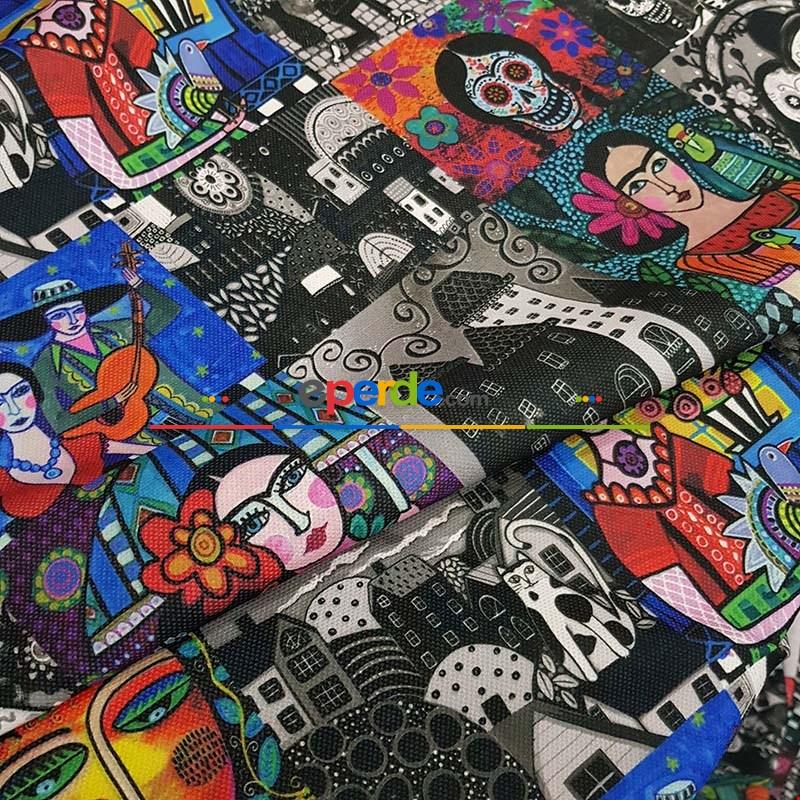 Frida Desenli Hazır Fon Perde - Kumaşı Kalındır Duck Bezi Değildir