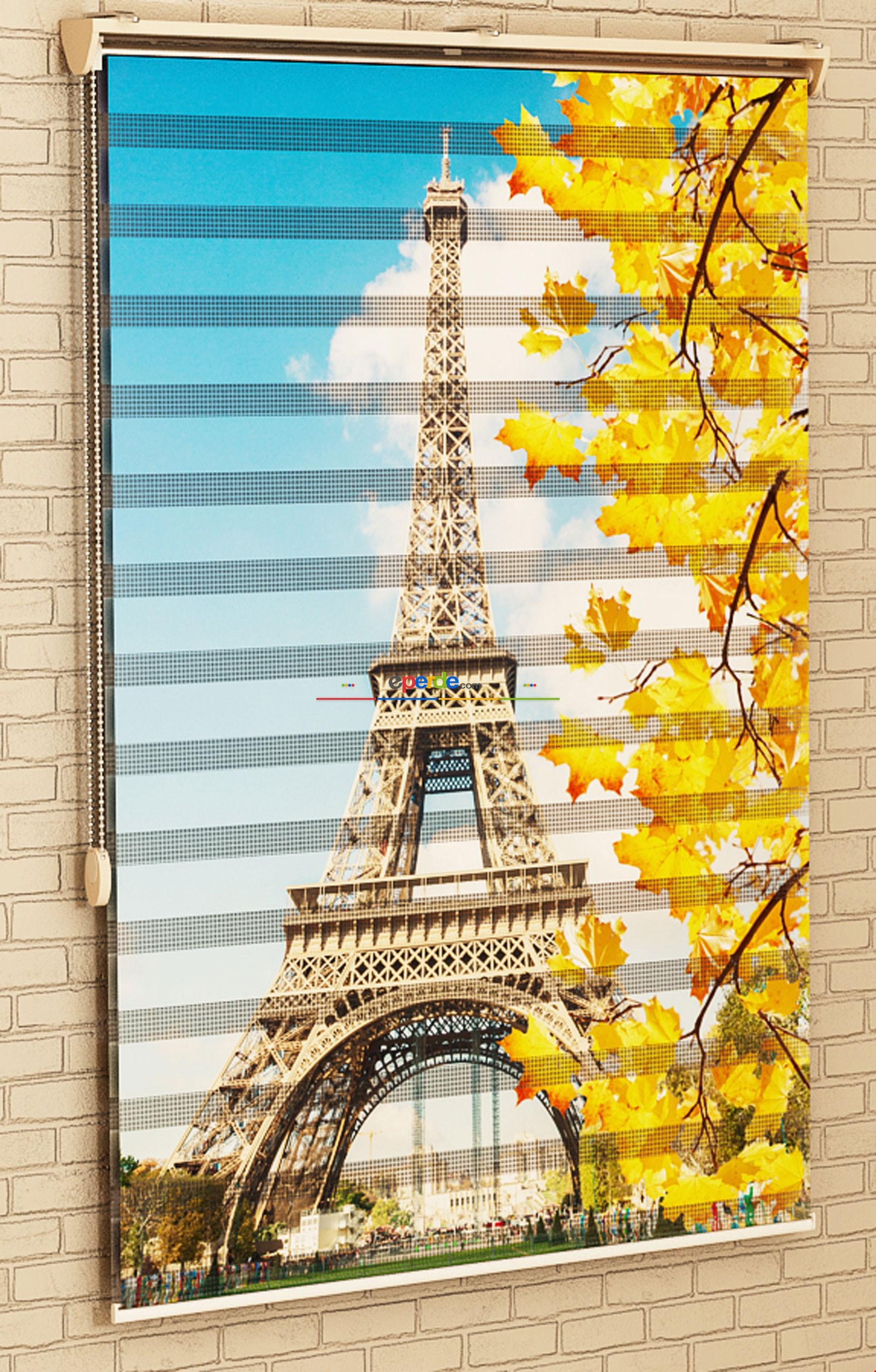 Yatak Odası Paris Eyfel Kulesi- Baskılı Zebra Stor Perde