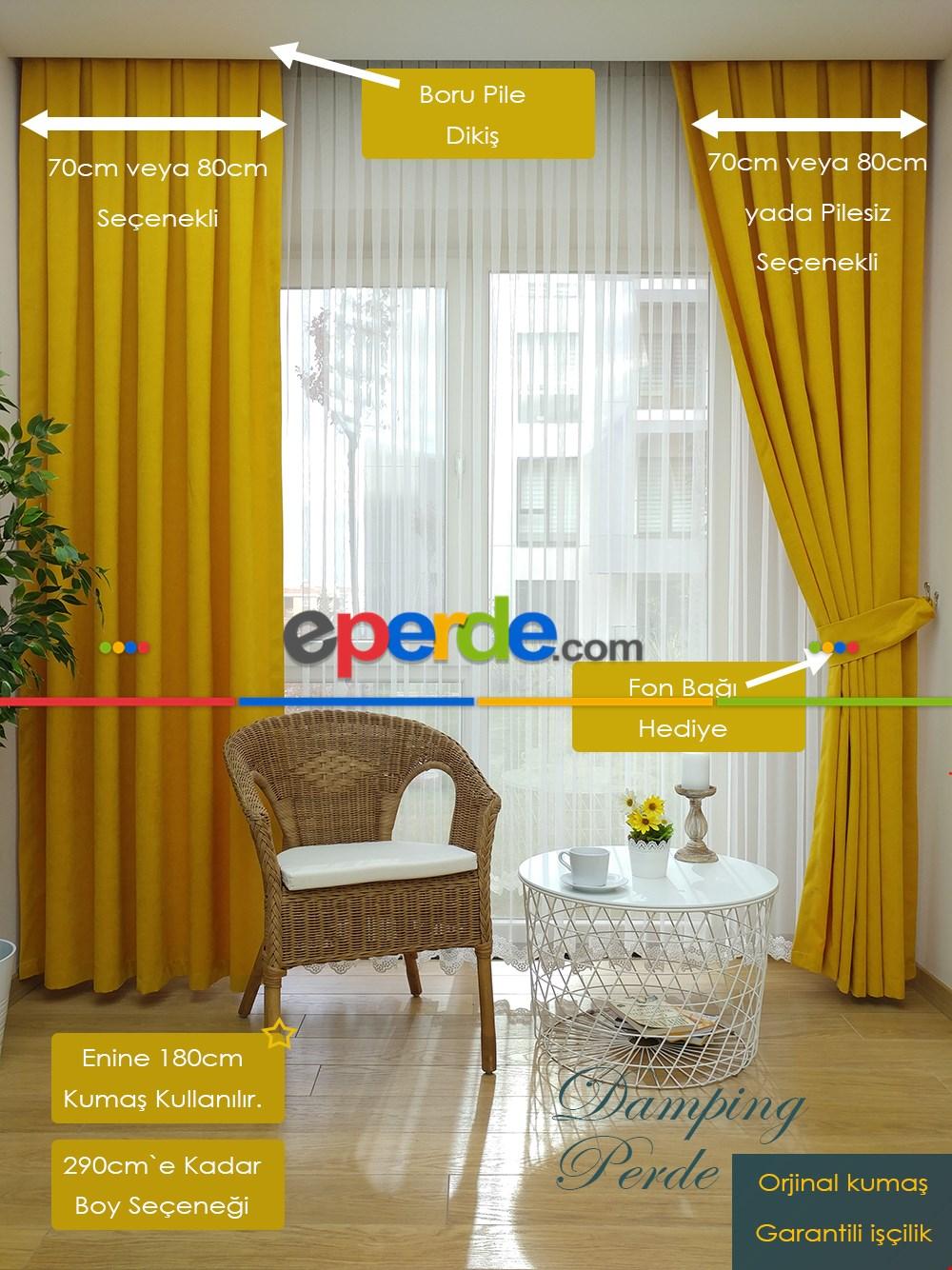Pudra Pembe Düz Fon Perde 180cm En Sarı