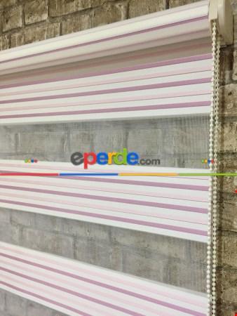 Pembe Mutfak Perdesi Mekanizmalı Zebra Perde Plise-  Çok Renkli 3
