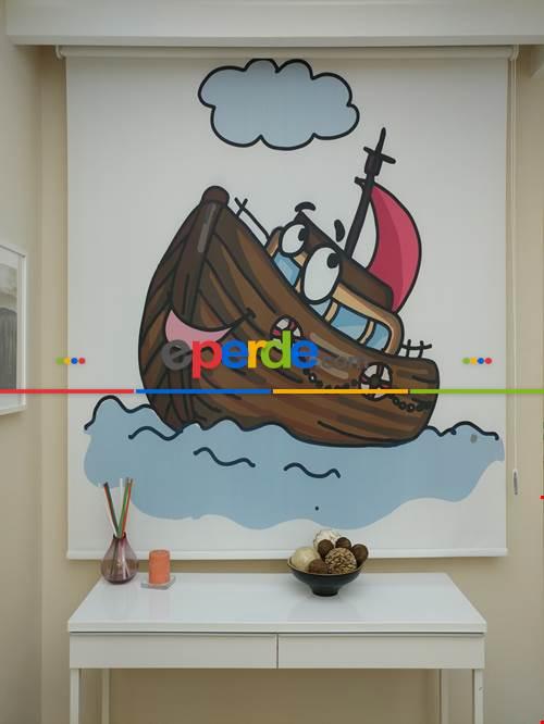 Minik Kaptan Gemi Desenli Özel Dijital Baskılı Stor Perde