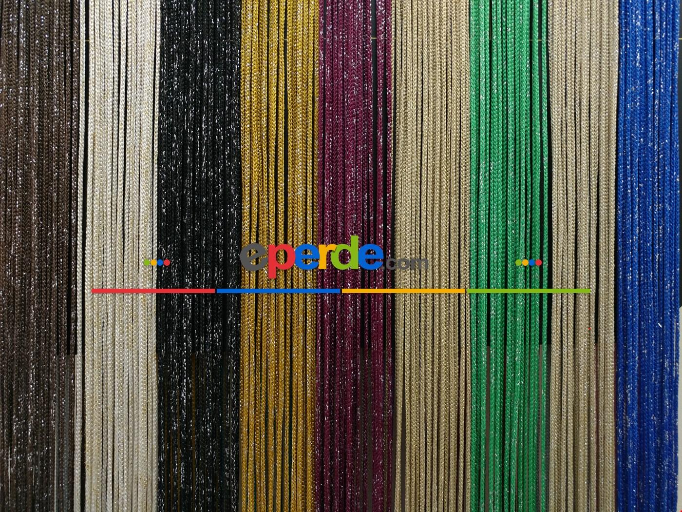 Bej Rengi İp Perde Kalın Zincir Simli Serisi