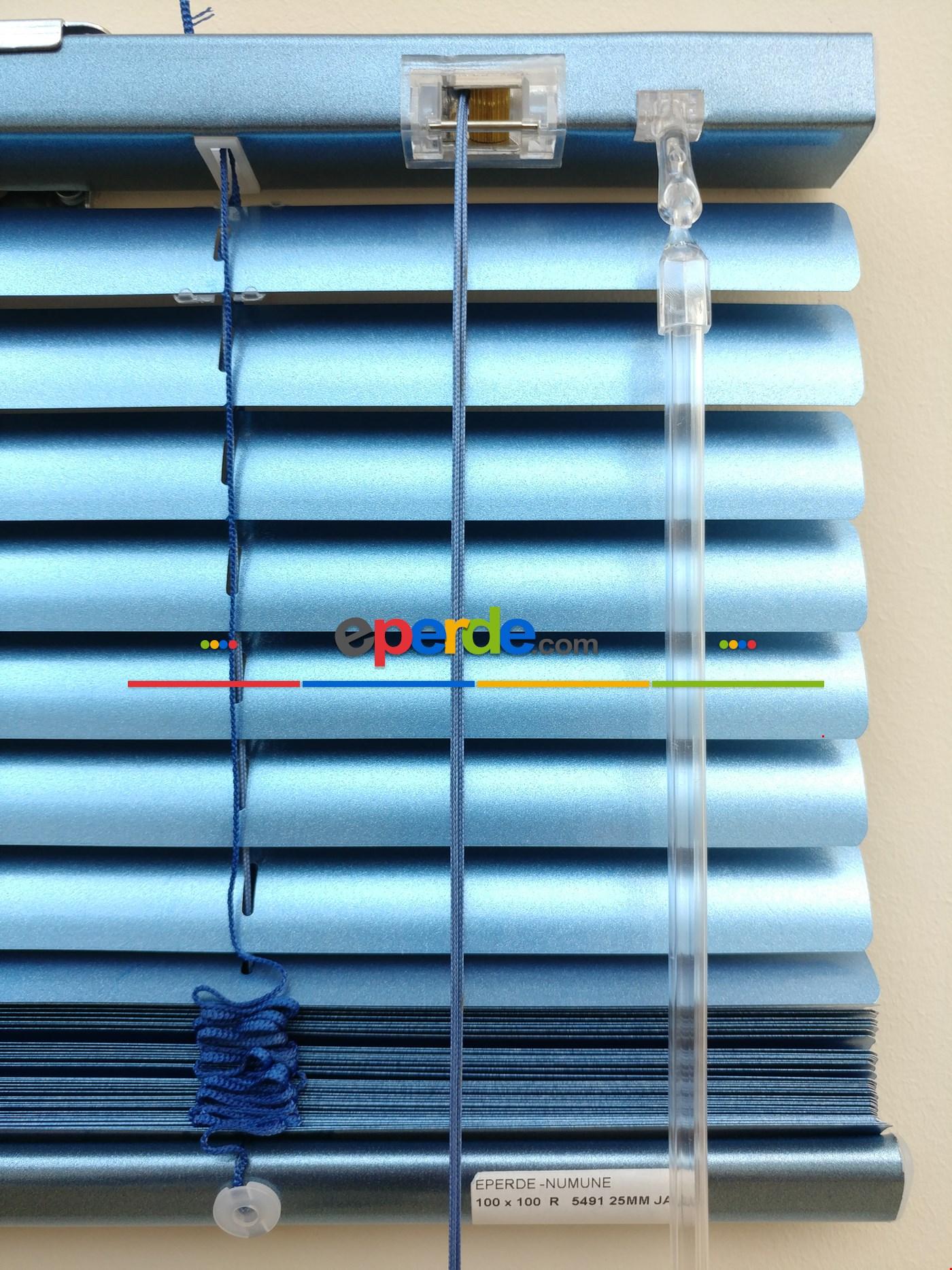 Simli Açık Mavi - Alüminyum Jaluzi Perde - 25mm Kalınlığında